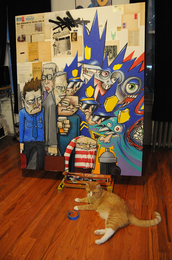 Ewok canvas in his studio in brooklyn