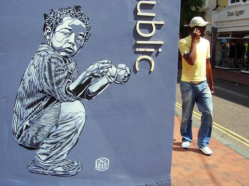 Stencil in the street by C215