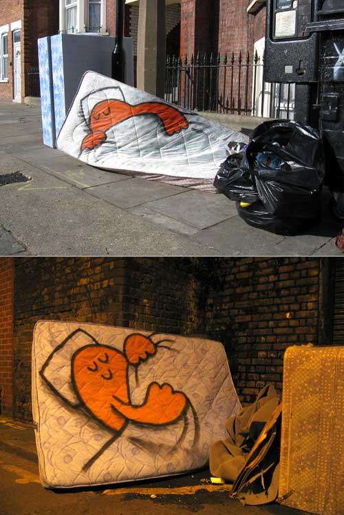 Contextual street art by dave the chimp
