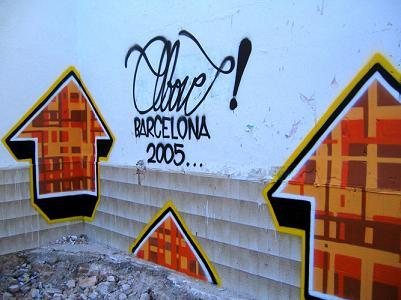 Above street art piece in barcelona